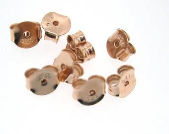 Earring Backs-Rose Gold over Sterling Silver Butterfly Earring Post Backs, Ear nuts  - SKU:203029_RG