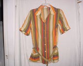 Vintage 60s Stripe Ladies Tunic Blouse Model Coat 36 Brown Orange Green