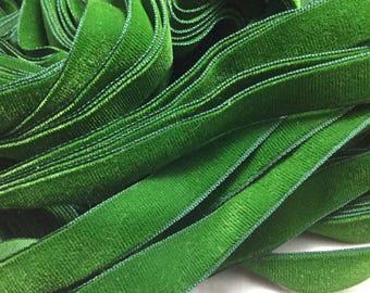 Vintage French Rayon VELVET Ribbon Taffeta Back - HUNTER GREEN by the yard 5/8 inch