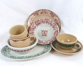 VTG Diner China Lot Patterned Restaurant Ware Pick Iroquois Jackson Inca Caribe