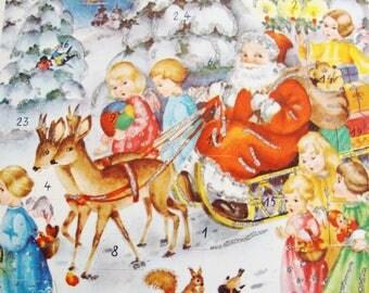 vintage santa claus,  advent calendar,  1950s angels,  amag western germany
