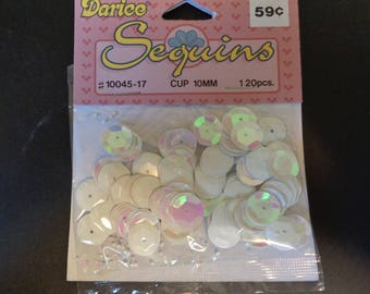 Darice Sequins - Iridescent White  - 6 Packs - 120 pieces per pack