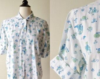 1960s blouse // Novelty Print // Royal Opulence blouse