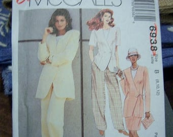 Christmas in July Easy McCalls Misses Unlined Jacket, Top, Skirt and Pants Pattern N 6938 Uncut Dated 1994 Sizes 8 thru 12