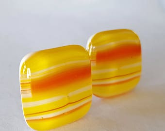 Clip On Earrings, Fused Glass Jewelry, Orange Earrings, Yellow Earrings, Square Earrings, Clipon Earrings, Contemporary Jewelry, Made in USA