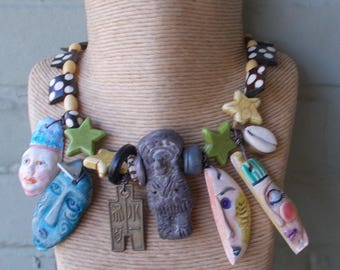 Clay Faces Necklace, Wearable Art Faces Necklace