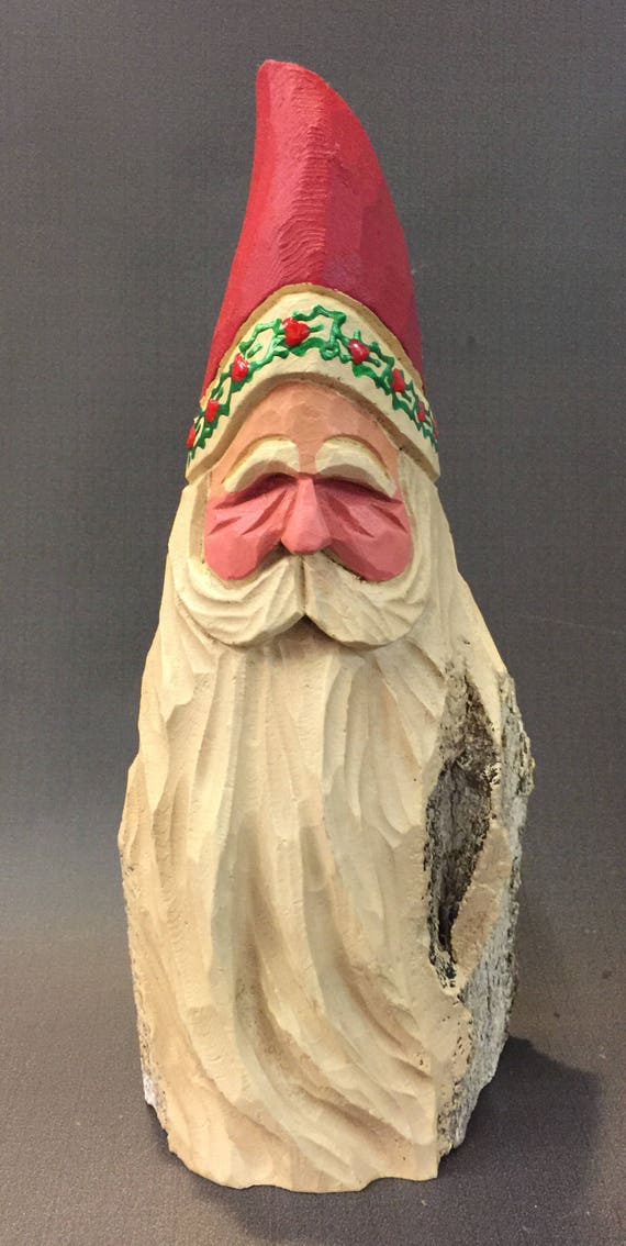 HAND CARVED original Santa bust w/ holly trim from 100 year old Cottonwood Bark.