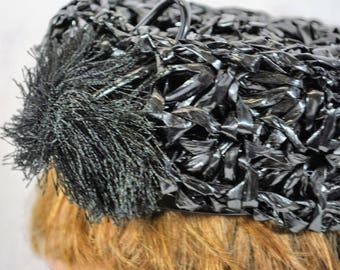 Vintage Women's Lisette Black Straw Pillbox Hat Black Tassel Hochschild Kohn & Co '40s-'50s