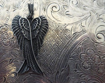 CLEARANCE SALE Antiqued Finish Matte Silver Angel Wings Charm Medal Necklace Pendant Feathers Bird Wing Heavenly Angelic Peace Archangel Cat