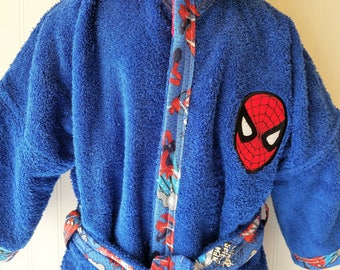 Personalized-Boys-Bath-Robes-Bathrobes-Super-Hero-Spider-Man-Beach-Hooded-Towels-Swimwear-Terry-Beach-Cover-Up-Baby-Toddler-Kids-Teen-Gift