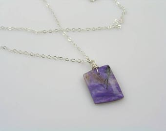 Charoite Necklace, Sterling Silver Necklace, Charoite Pendant, Charoite Jewelry, Purple Necklace, Purple Gem Necklace, Gem Jewelry, N1356
