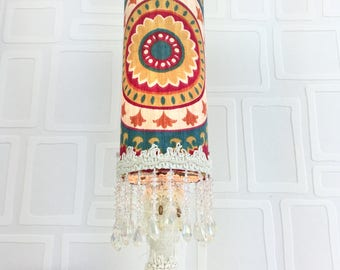 Lampe de table /veilleuse/lampe style bohème chic/veilleuse/éclairage/lampe creme et turquoise/unique / fait main/ lighting/home decor/night
