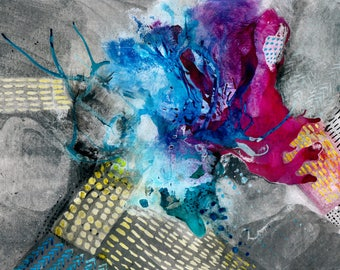 Ink art abstract painting A4 8x12in -  summer night