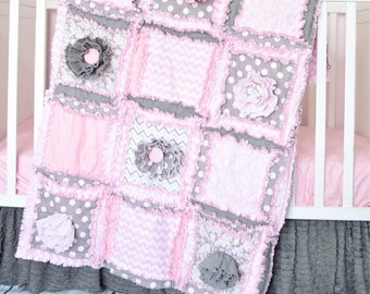Floral Quilt - Grey / Pink Crib Bedding Girl Quilt- Girl Duvet Cover Modern Crib Bedding- Girl Bedroom Decor Crib Size Quilt- Baby Rag Quilt