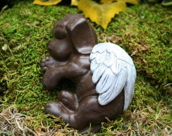 Dog Angel Statue / Chocolate Lab Concrete Statue - Labrador Pet Memorial Marker