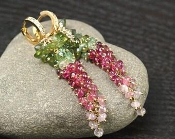 Summer SALE Green Apatite Multi colour Tourmaline cluster earrings CZ pave vermeil hoops, Luxe cascade Tourmaline earrings ... SEIRIOL Earri