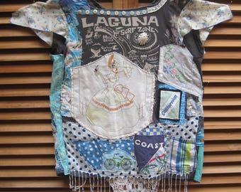 LAGUNA BEACH LADY  Altered Upcycled Shirt Wearable Collage Clothing Folk Art -  mybonny random scraps of fabric