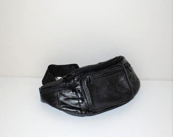 80s vintage black leather fanny pack
