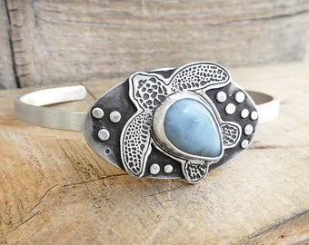 Larimar sea turtle sterling silver cuff bracelet, sea turtle jewelry, gift for wife, girlfriend gift for her, handmade cuff, Hawaii