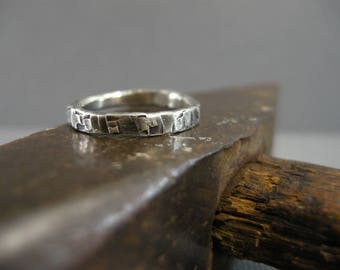 handmade simple sterling silver ring, textured hammered band, unisex, man's or woman's ring, oxidized, distressed, size 7, stacking ring