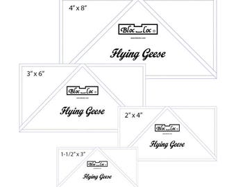 """Flying Geese Ruler Set 1 includes: 1-1/2"""" x 3"""", 2"""" x 4"""", 3"""" x 6"""", and 4"""" x 8"""""""