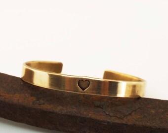 Bronze Anniversary Bracelet, Bronze Cuff With Heart, Men's Cuff, 8 Year Anniversary Gift, Men's Bronze Bracelet