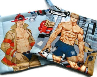 Quilted  Pot holders Hot Firefighers in Blue set of 2 Potholders