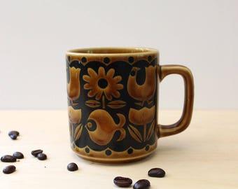 Hornsea style mug, 1970s bird, fish and flowers design.