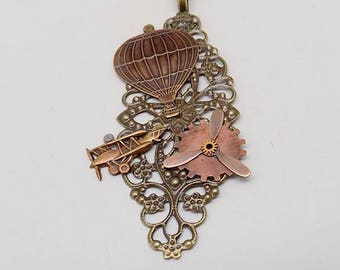 Steampunk jewelry necklace pendant .