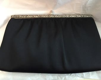 Vintage Black Harry Levine USA Clutch Evening Bag Purse