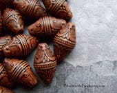 Etched Bead, Tribal Bead, Lantern Bead, Exotic Bead, Brown Bead, Ornate Bead, Carved Bead, Bicone Bead, 10 Beads