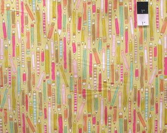 Erin McMorris PWEM086 Noteworthy Doodle Mustard Fabric By The Yard