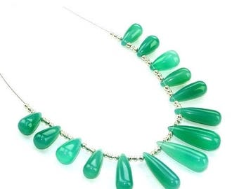 50% Off Sale 14 Pcs set  13-22mm Green Onyx Smooth Elongated Drops Briolettes Finest Quality Great Price (Custom Orders Welcome)