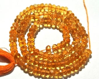 50% Off Sale 14 Inches Natural Citrine Micro Faceted Rondelles 3.5 -4mm approx, Citrine Faceted Roundels