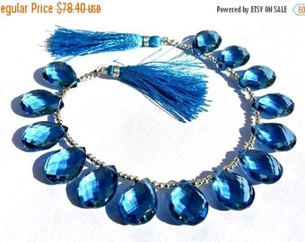 50% Off Sale 18x13mm AAA London Blue Quartz Faceted Pear Briolettes 10 Pcs 5 Matched Pair, Semiprecious Beads, Gemstone Beads