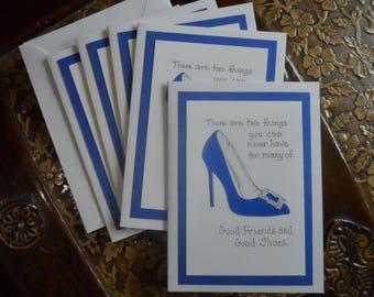 Friendship Blue Shoe Note Cards - set of 5