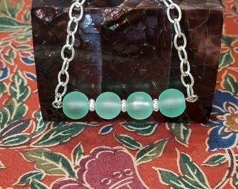 Mint Frosted Glass Bracelet