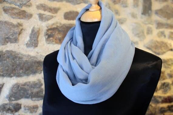 Stole-shawl, blue Charron silk Crepe scarf.