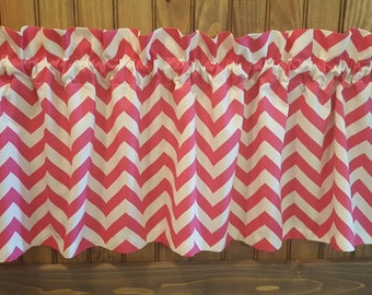 """Pink and White Chevron Valance - 50"""" x 16"""" - Ready to Ship!"""