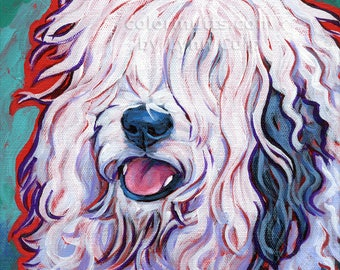 Old English SHEEPDOG Dog Original Art Painting on 8x8 canvas by Lynn Culp