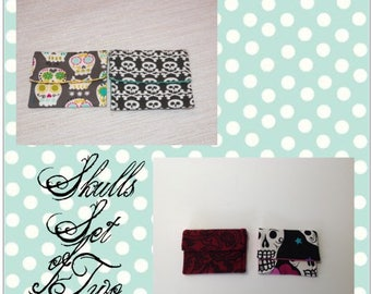 Skulls and Paisley Teeny Pocket Coin Purse Your Choice of One Set of Two