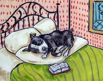 20 % off storewide Boaston Terrier Sleeping Dog Art Tile