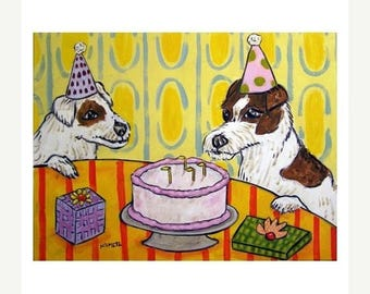 20% off storewide Jack Russell Terrier Birthday Party Dog Art Print