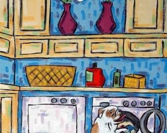 20% off storewide Bulldog Doing the Laundry Dog Art Print   JSCHMETZ modern abstract folk pop art gift