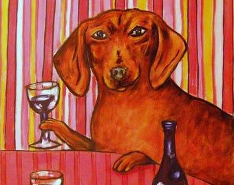 dachshund art - dachshund at the wine bar dog art print signed 11x14 - dachshund gifts