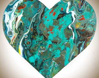 Heart shaped painting Wooden Heart wall art wall decor Acrylic colourful fluid art red green turquoise by QIQIGallery