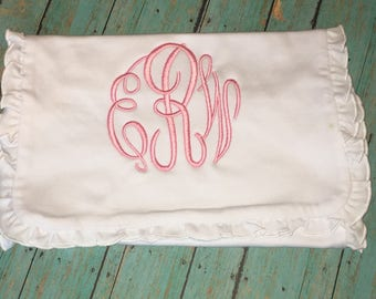 Monogrammed Ruffled Burp Cloth