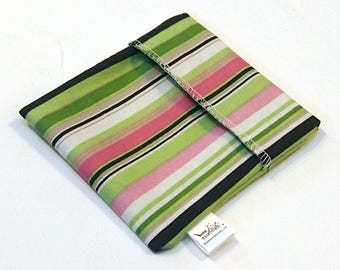 Cloth Menstrual Pad Wrapper - waterproof PUL lining and quilter's cotton outer - 4.5 x 4.5 inches - Pink and Green Stripes