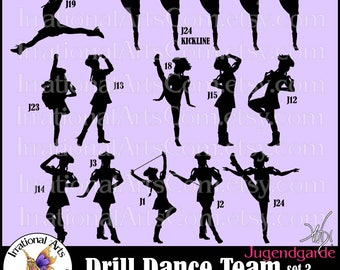 Drill Dance Team Silhouettes Jugendgarde Set 3 - 12 EPS & SVG Vinyl Ready files and 12 PNG Digital files and scl Feather Hats Poofy Sleeves