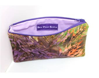 Cosmetic Case, Cord Case, Bridesmaid Gifts, All-Purpose Zipper Case, Colorful Feather Batik 8736